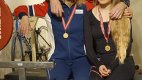 Gulltrio: Ann Kristin, Eva Marie og Geir Olsen vant hvert sitt gull under NM i benkpress. Foto: Privat