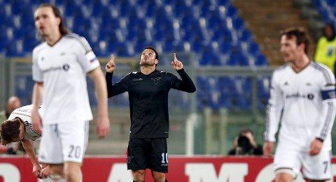 SS Lazios Felipe Anderson jubler etter å ha scoret mot Rosenborg i Roma for to uker siden. Torsdag tror vår tipper av Italia-marerittet fortsetter for trønderne.