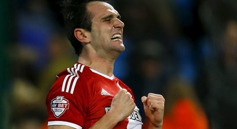 Middlesbrough's Kike celebrates his goal against Manchester City during their English FA Cup 4th round soccer match at the Etihad Stadium in Manchester, northern England, January 24, 2015. REUTERS/Darren Staples   (BRITAIN - Tags: SPORT SOCCER)