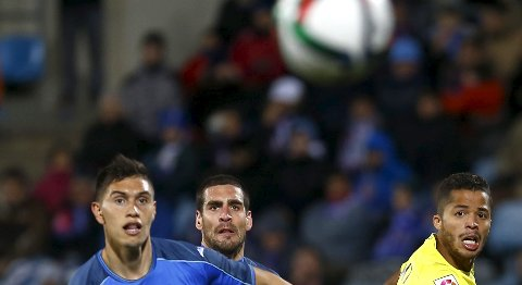 Getafe og Emiliano Velazquez og Alvaro Arroyo (midten) har ennå ikke vunnet på bortebane denne sesongen.