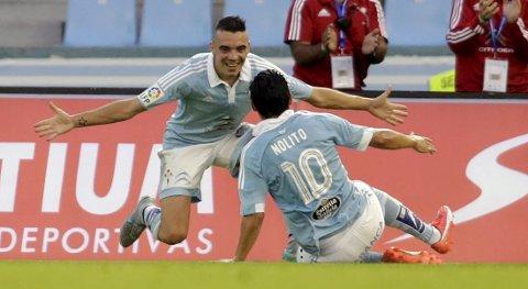Vår oddstipper har troen på Celta Vigo i kveldens cupkamp mot Cadiz. Her er det Iago Aspas (t.v.) og Nolito Agudo som feirer en scoring tidligere i sesongen.