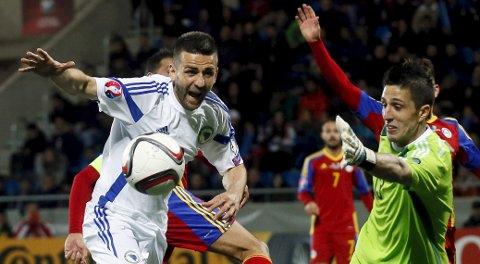 Vår oddstipper mener at Bosnia-Herzegovina og Vedad Ibisevic (t.v.) vinner den første playoffkampen mot Irland i kveld.