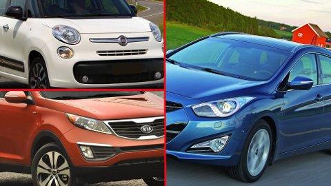 Eierne av Fiat (øverst), Kia og Hyundai er blant dem som er minst fornøyde med bilen sin.