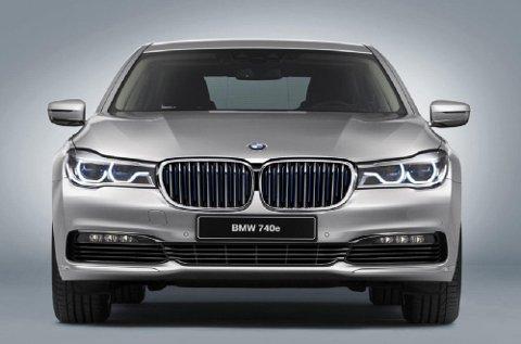 Dette er ansiktet til BMWs helt nye 7-serie, den ladbare hybriden 740e iPerformance.