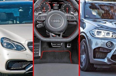 Noen av bilene som kommer veldig godt ut av det nye avgiftssystemet fra 1. januar er Mercedes E63 AMG S 4Motion, Audi RS6 og BMW X5 M.