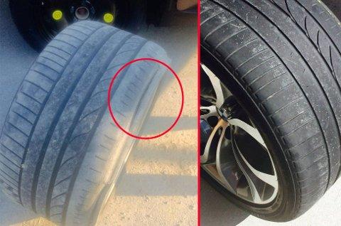 Dekket ser i utgangspunktet helt greit ut, men slitasjen er ekstrem på innersiden. Dermed slites det plutselig hull, og du punkterer. Skal du kjøpe bruktbil, bør du være nøye når du sjekker dekkene.