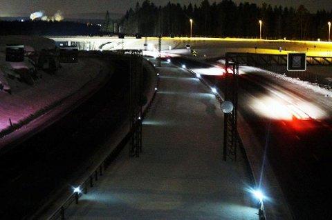 Omtrent slik ser det ut på den nye E6-strekningen gjennom Eidsvoll om vinteren. Nå justeres hastigheten ned fra 110 til 100 km/t.
