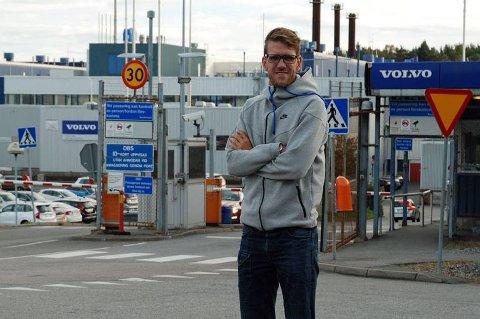Hit, men ikke lenger! Ingen journalister får slippe inn på Volvo-fabrikken nå, heller ikke Brooms redaksjonssjef Vegard Møller Johnsen.