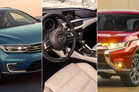 Dette er noen av bilene man kan få til 450.000 kroner. Fra venstre VW Passat GTE, Mazda 6 og Mitsubishi Outlander PHEV.
