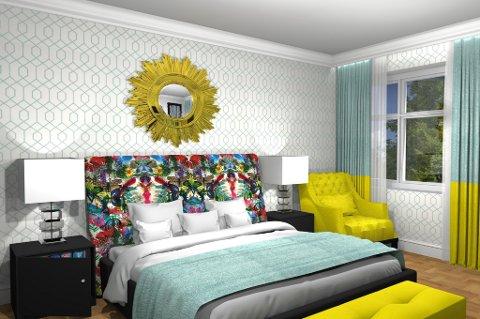 Her er et forslag til soverom i hotellstil ved hjelp av et 3D-visualiseringsverktøy.