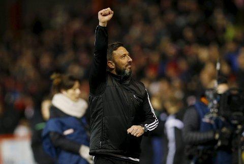Aberdeen-manager Derek McInnes jubler etter seieren mot Celtic på hjemmebane tidligere denne måneden. Med seier i kveld legger de press på Glasgow-klubben.