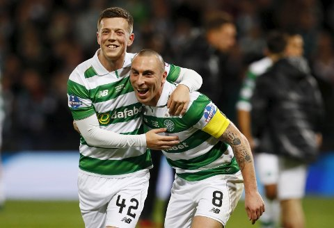 "Britain Football Soccer - Aberdeen v Celtic - Scottish League Cup Final - Hampden Park, Glasgow, Scotland - 27/11/16 Celtic's Callum McGregor and Scott Brown celebrate winning the final Action Images via Reuters / Jason Cairnduff Livepic EDITORIAL USE ONLY. No use with unauthorized audio, video, data, fixture lists, club/league logos or ""live"" services. Online in-match use limited to 45 images, no video emulation. No use in betting, games or single club/league/player publications.  Please contact your account representative for further details."