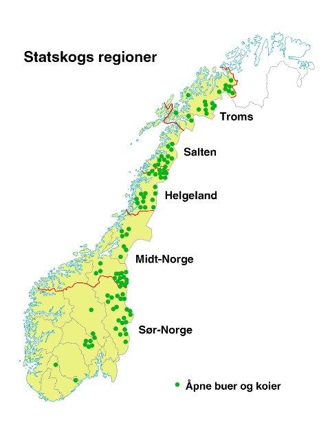 Kartet viser hvor i Norge koiene ligger.