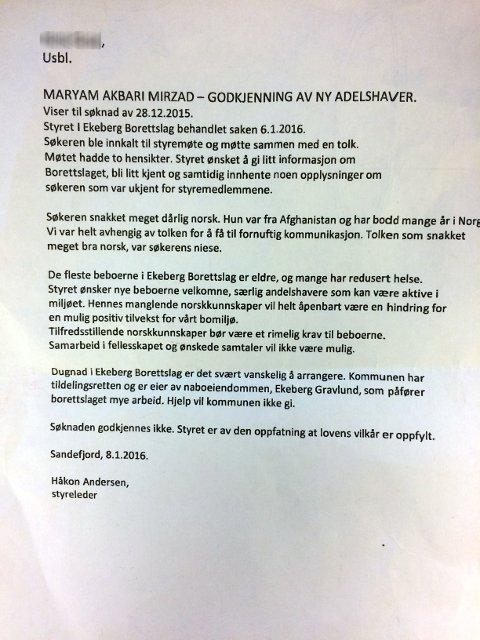 BREVET TIL USBL: Her begrunner Håkon Andersen, styreleder i Ekeberg borettslag, hvorfor de ikke ønsker Maryam Akbari Mirzad i bomiljøet.