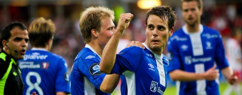 Martin Wiig jubler her for 0-1-scoringen på Fredrikstad Stadion.