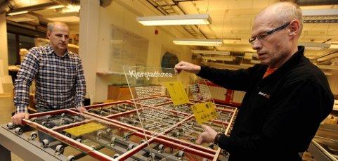 Lars Hanstad (t.h.) og Morten Rognhaugen har funnet en nisje; digitalt trykk på herdet glass.
