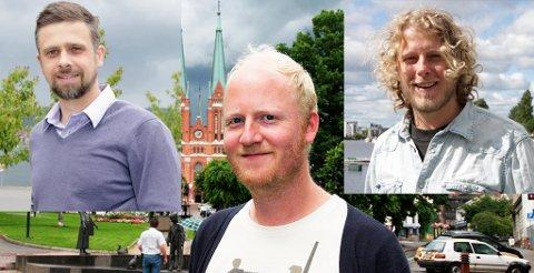 Arild Bakke (til venstre), Bjørn Vidar Solli (i midten) og Fredrik Brattberg (til høyre) gjør karriere som frilansere i musikk og dramatikk. Alle har bakgrunn som elever fra Skien Videregående skole.