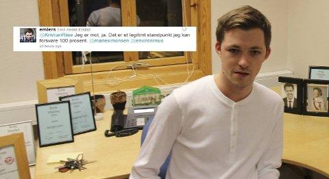 Emil André  Erstad er fylkesleder i ungdomspartiet til Hordaland KrF.  - Det jeg mener er at der er mer ekstremt å være for fri abort enn mot, sier han til BA.