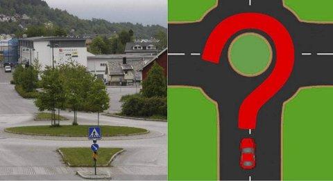Rundkjøringer er en kilde til stor forvirring for bilister i Norge. Foto/montasje: Ivar Longvastøl, Firda/Tryg