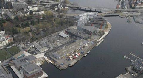 Her på Marineholmen kan en mediaklynge i Bergen komme til å bli lokalisert. Marineholmen er ett av to aktuelle lokaliteter for mediaklyngen.