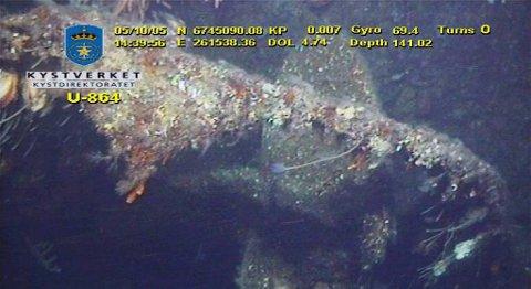 Bilde tatt av ubåtvraket som ligger utenfor Fedje. Trolig er båten lastet med 65 tonn kvikksølv.