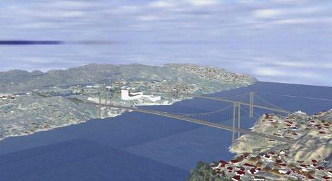 Slik kan det bli mellom Bergen og Sotra når Sotrasambandet blir ferdig. Fylkesmannen er ikke motstander av en slik løsning, så lenge det i fremtiden vil gå bybane over broen.
