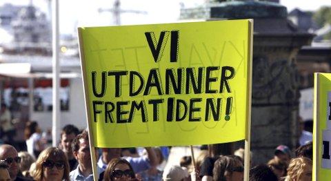 Det er streik i Bergen kommune. Her fra en tilsvarende streik i 2008 i UNIO. (Arkiv)