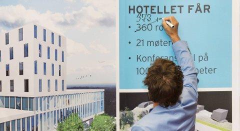 Her utvider Petter Stordalen utvidet hotellet sitt på direkten under lanseringen på Sandsli (11.06.2012).