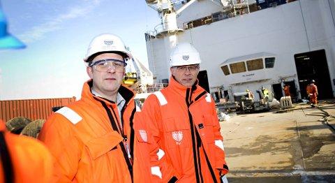HR-direktør Asbjørn Grini og kommunikasjonsdirektør Øyvind Risnes i Bergen Group.