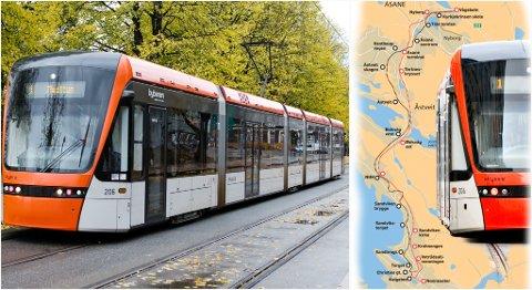 Grafikken til høyre viser de ulike trasémulighetene til Åsane.