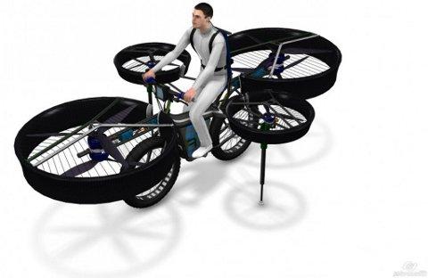 Sykkelen har fått festet et rammeverk med seks propeller som blir drevet av elektrisistet, slik at den skal kunne ta av og sveve over trafikken.