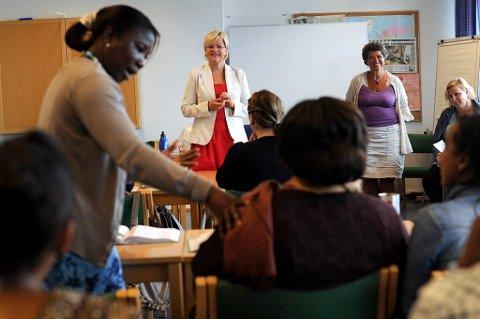 Alle arbeidstakere har rett til videreutdanning. Her besøker utdanningsminsiter Kristin Halvorsen  Oslo Voksenopplæring.