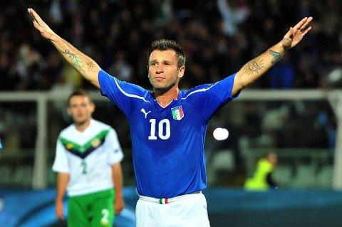 Antonio Cassano kan komme til å score mål i Italia-drakten under sommerens EM.