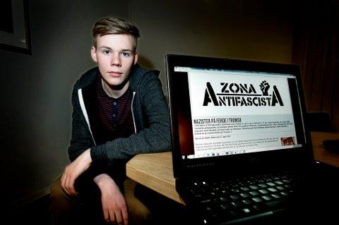 FØLGER MED: Sondre Sollid (18), sentralstyremedlem i Rød Ungdom, holder det høyreekstreme miljøet under oppsyn. Sammen med flere andre bidrar han til det venstreorienterte nettstedet Radikal Front.