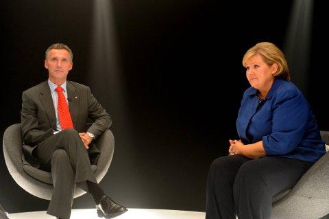 Jens Stoltenberg og Erna Solberg i en tidligere TV-duell.
