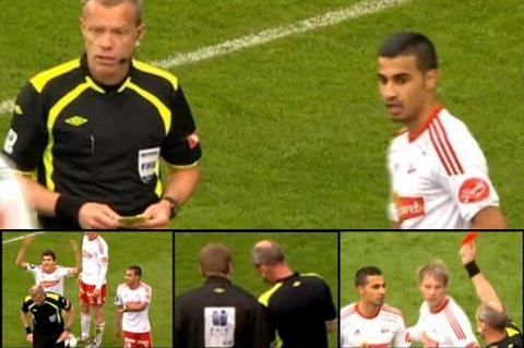 Dommer Berntsen glemmer at han gir FFK-spiller Hussain sitt andre gule kort og må ha assistanse fra fjerdedommer.