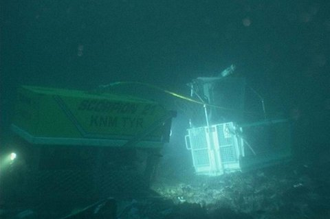 U-båten U-864 på havbunnen utenfor Fedje i Hordaland.
