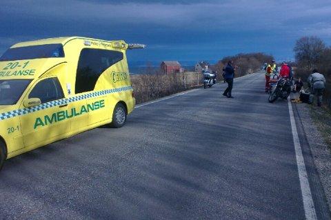 Ambulansen fraktet den skadde tyskeren til Hammerfest sykehus.