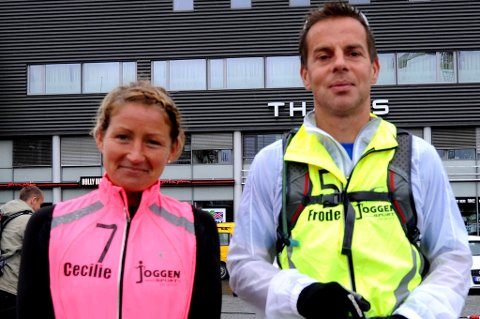KLARE: Cecilie Karlsen og Frode Myrvang startet på løpet mellom Trondheim og Oslo foran Lerkendal stadion. FOTO: ANDERS TØSSE