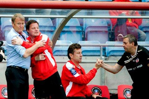 Åge Hareide kunne juble. Det ble seier i comebacket i Helsingborg.