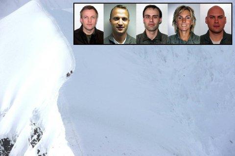De fem omkomne offiserene etter det norske Hercules-flyet krasjet i fjellet Kebnekasie (bildet): Truls Audun Ørpen, Ståle Garberg, Bjørn Yngvar Haug, Siw Robertsen og Steinar Utne.