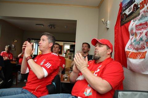 KAMPSTART: Gøran Nesset, Jan Erik Seierstad, Kristian Vegel og Bjørn Riiber mens det ennå var håp for Liverpool mot West Bromwich lørdag.