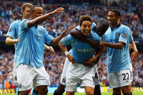 Samir Nasri jubler etter scoring. Vi tror han og Manchester City lykkes mot QPR i dag.