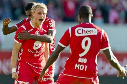 Fredrik Nordkvelle scoring søndag var hans andre på to kamper. Dette bildet er fra forrige helgs scoring mot Haugesund.