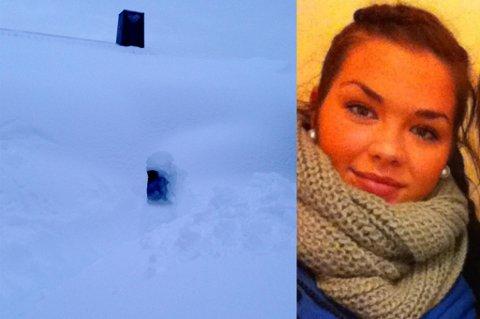 LINDAS SNØHULE: Slik så Linda Jørgensens hus ut da hun kom hjem fra påskeferie.