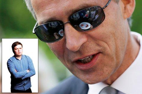 «JENSEMANN»: Hvem har en partileder som måtte ha øyekirurgi for å slippe å se velgerne i øynene, spør Nordlys-journalist Jørn Normann Pedersen (innfelt). Foto: Håkon Mosvold Larsen, NTB scanpix