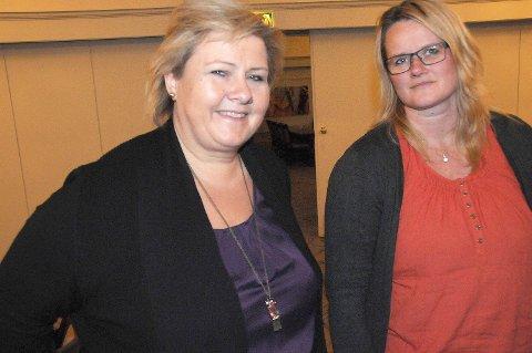 FORSIKRING: Statsminister Erna Solberg uttalte i samtaler med blant andre Høyres leder i Tynset, Berit Norseth Moen, at det kun var snakk om en kvalitetssikring av arkiv-prosjektet, og ikke omkamp om sted.