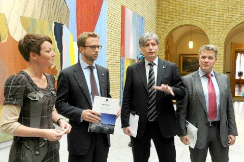 Line Henriette Holten Hjemdal (Krf),Nikolai Astrup (H), Ola Elvestuen (V) og Per-Willy Amundsen (FrP) kommenterer regjeringens klimamelding som ble presentert onsdag