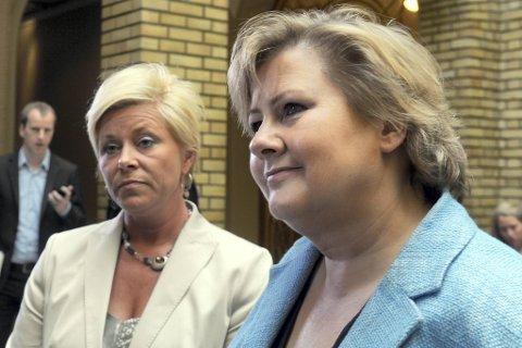 Frps Siv Jensen svinger mer på målingene enn Høyres Erna Solberg.