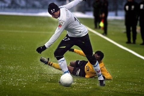 NFK-KLAR: Ibba Lajaab (22) spilte 60 minutter i treningskampen mot Moss, før han signerte avtalen med Notodden i går kveld.